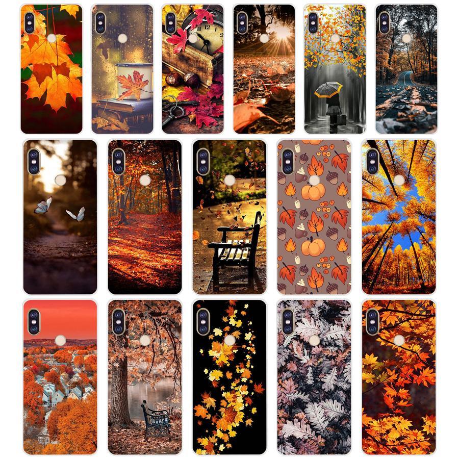 353FG Autumn Leaves Soft Silicone Tpu Cover Phone Case For Xiaomi Redmi 5A 8 8A 5Plus Note 5 5A 8 8T Pro