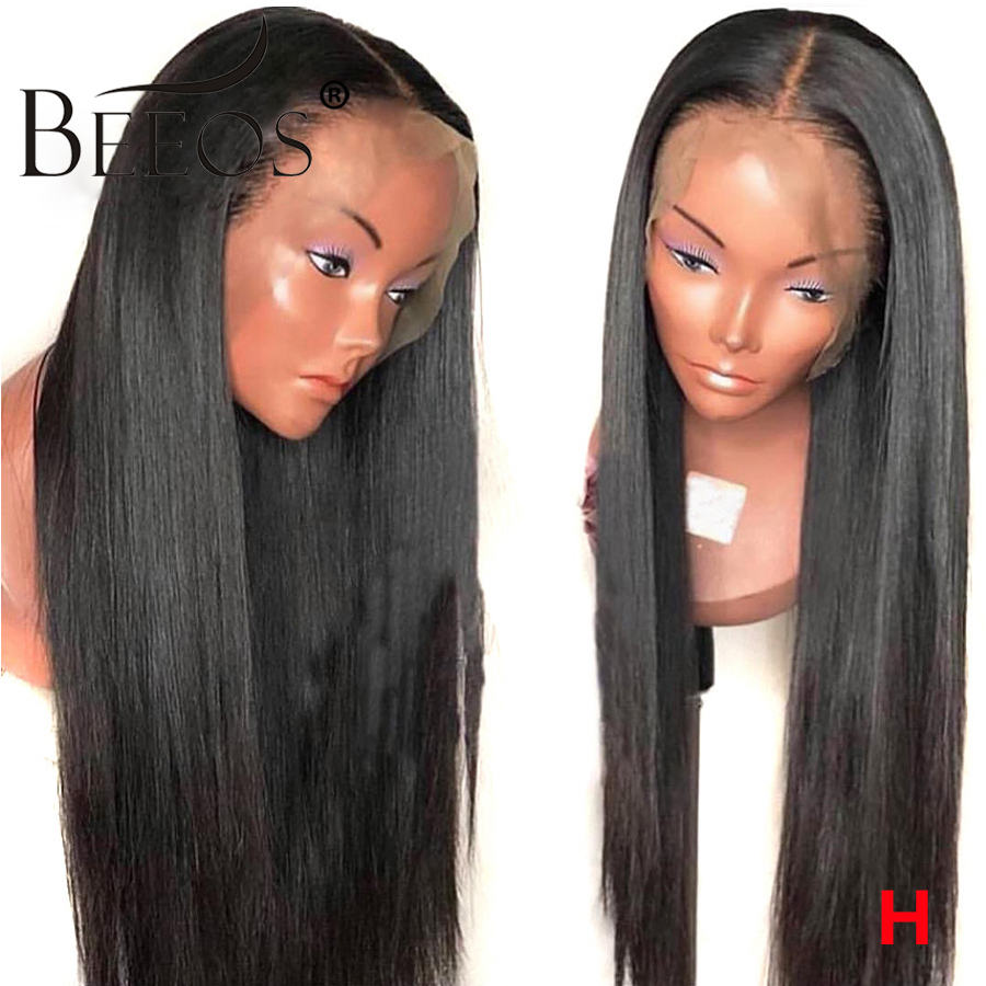 Beeos Straight Transparent HD Lace Brazilian Full Lace Human Hair Wigs 130% Pre Plucked Natural Hairline Remy Bleached Knots