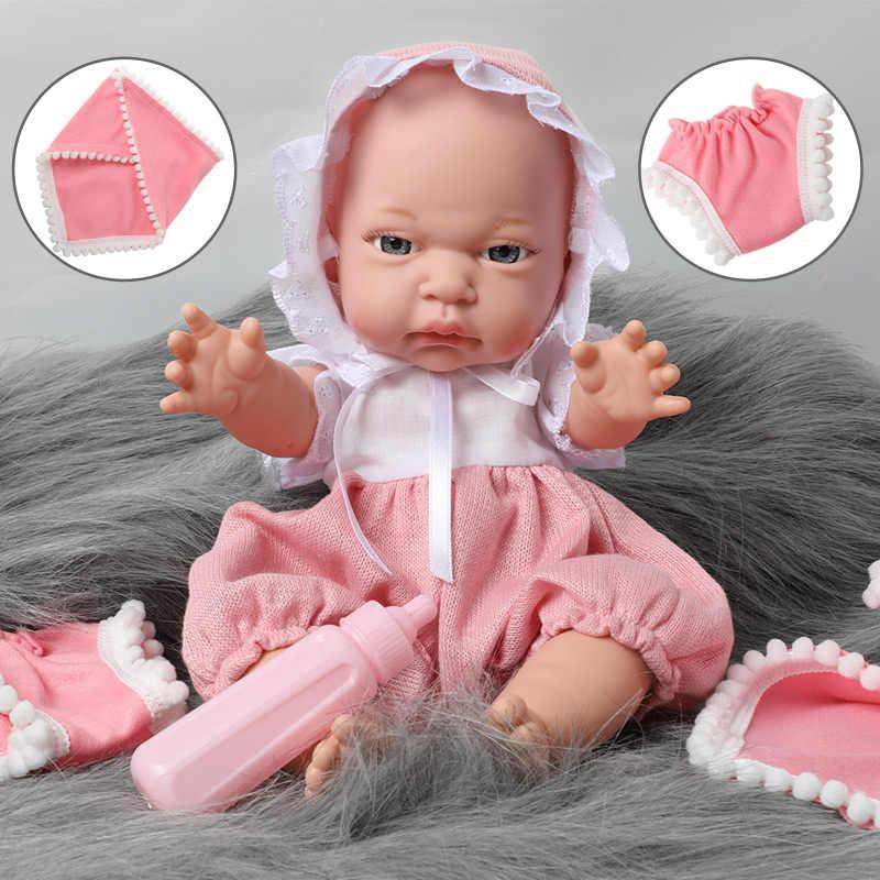 12 インチリボーンベベシミュレーション防水シリコーン新生児 30.5 センチメートル現実的なベビードール哺乳瓶セットのおもちゃ子供のため