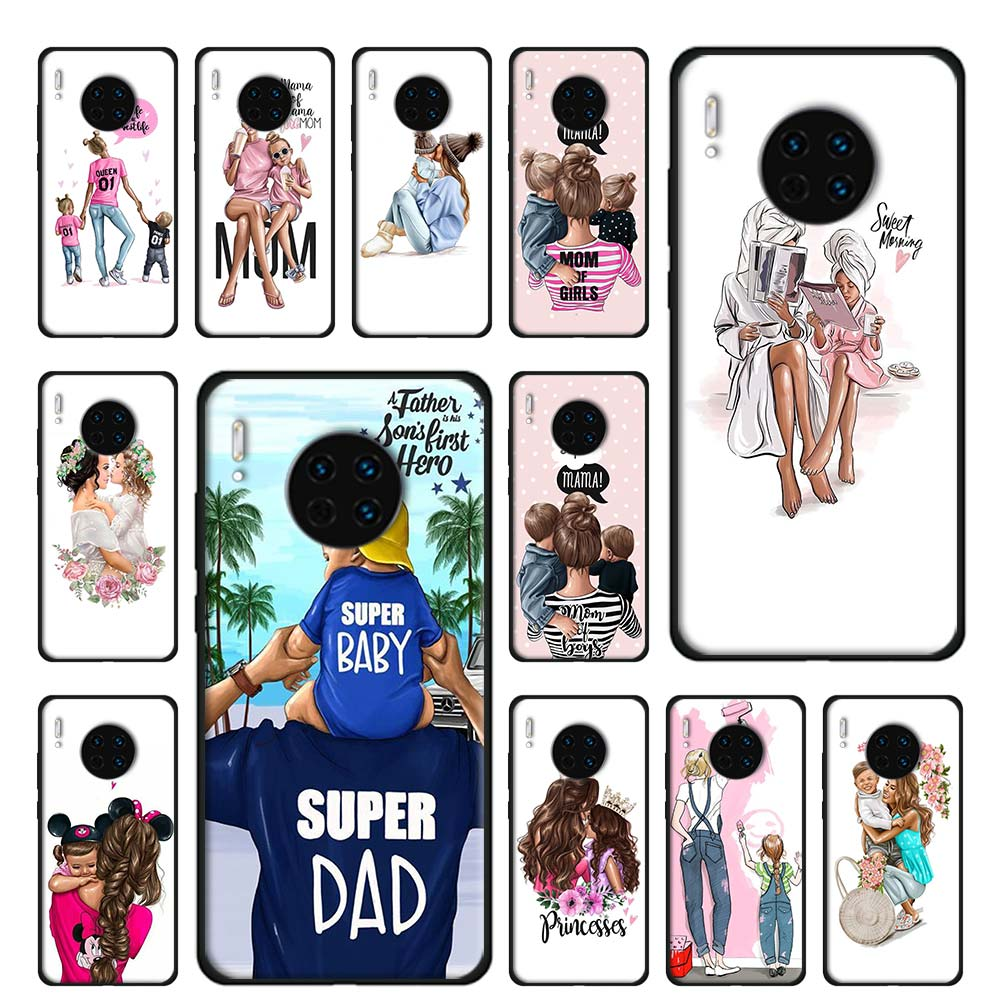 Beautiful mother lovely daughter son SIlicone Soft <font><b>Case</b></font> for <font><b>Huawei</b></font> <font><b>Mate</b></font> <font><b>10</b></font> 20 30 Pro <font><b>10</b></font> 20 30 <font><b>Lite</b></font> 30 Pro 5G P30 Pro TPU <font><b>Cover</b></font> image