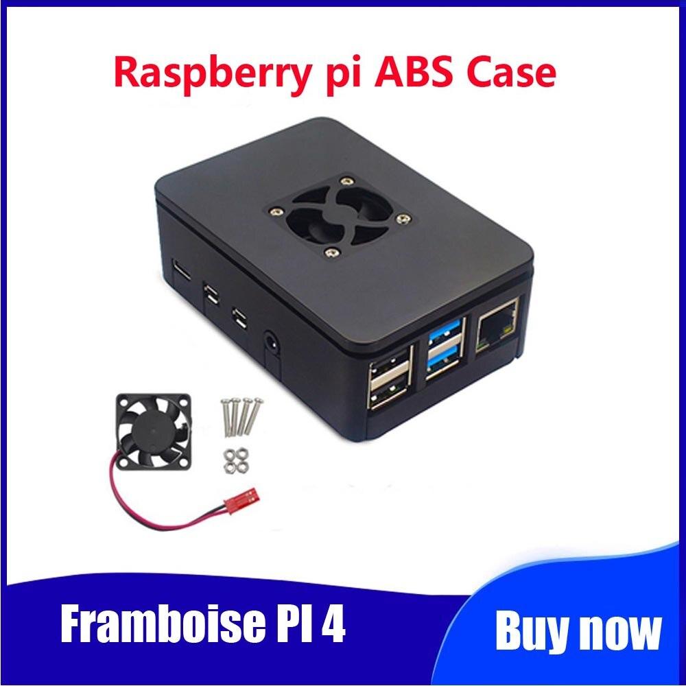 Framboise PI 4 modèle B 1 GB/2 GB/4 GB ABS housse avec ventilateur de refroidissement boîtier en plastique pour framboise Pi 4B