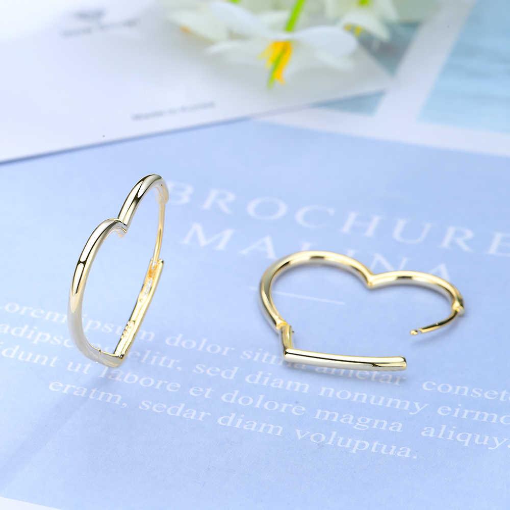 อินเทรนด์แท้ 100% 925 Sterling Silver Heart Shape Hoop ต่างหูผู้หญิงเครื่องประดับเงิน