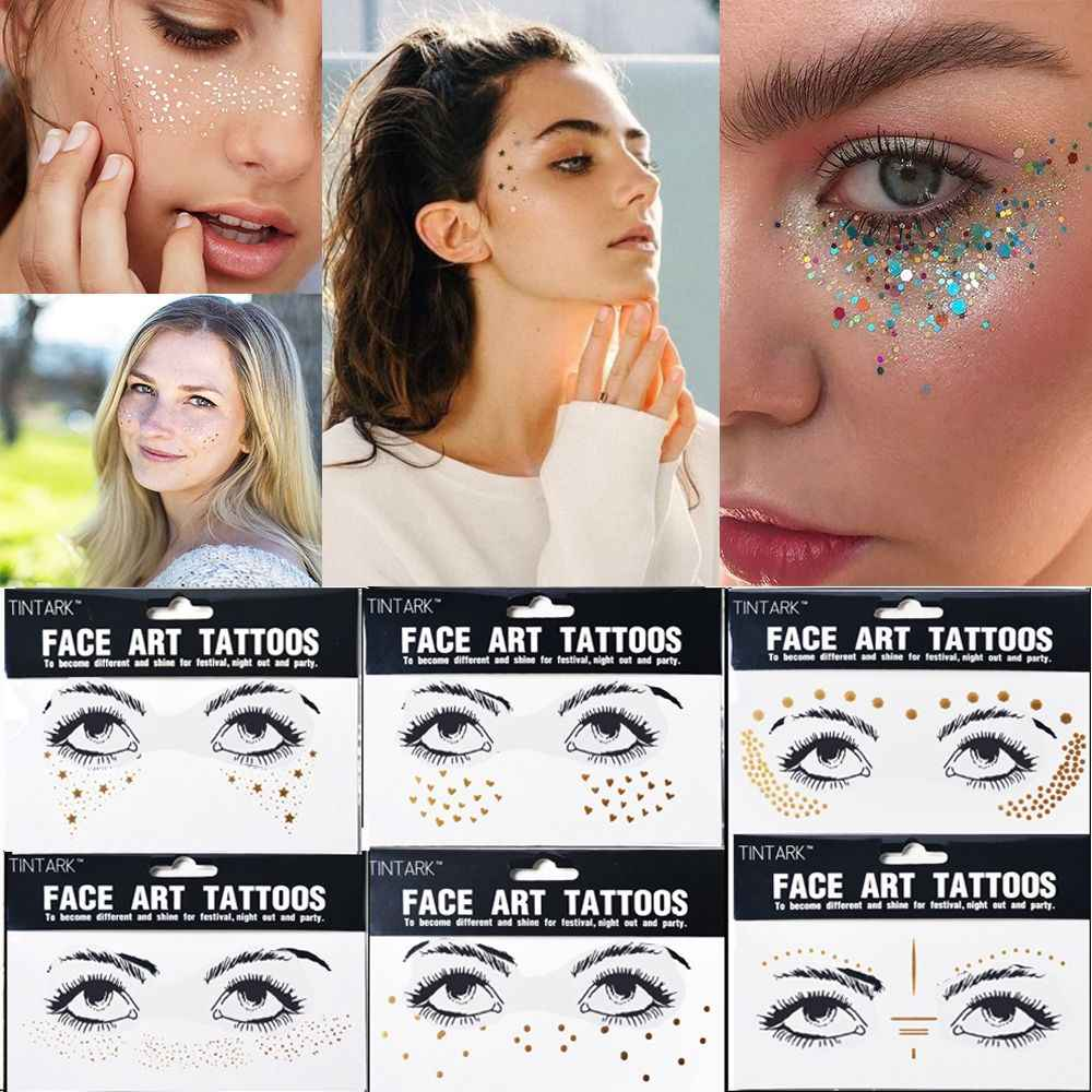 1 vel Waterdichte Tijdelijke Goud Gezicht Tattoo Stickers Wegwerp Bronzing Sproeten Decals Body Art Make-Up Flash Accessoires
