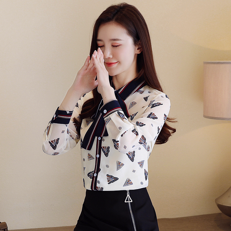 Korean Fashion Chiffon Womens Tops and Blouses Office Lady Women Blouses Plus Size XXL Blusas Femininas Elegante Ladies Tops