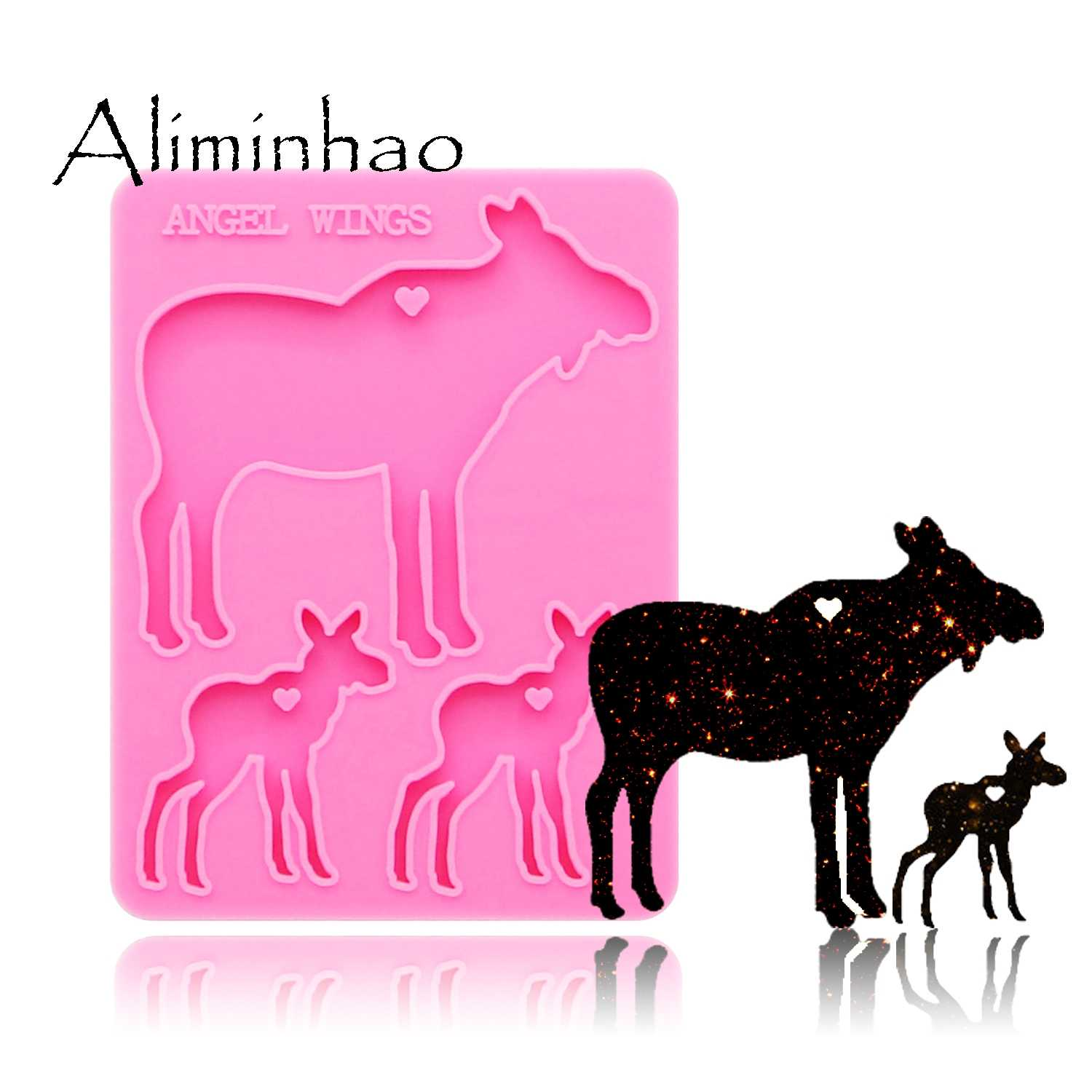 Reindeer Resin Casting Silicone Mold Keychain Pendant Key Ring Jewelry DIY Craft