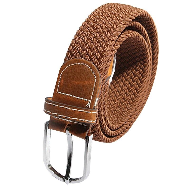Unisex Men Women Stretch Braided Elastic Leather Buckle Belt Waistband Brown