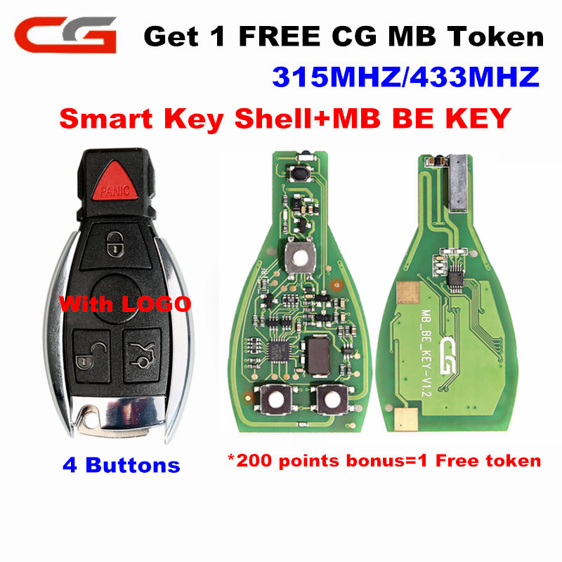 CG Original CGDI MB BE KEY PRO 1 Free MB Token  433 315MHZ Switch V1 2 Smart Key Shell 3 4Buttons With Logo For Mercedes-benz