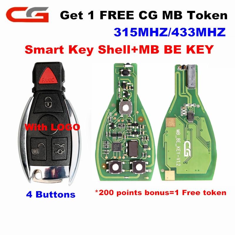 Cg original cgdi mb ser chave pro (1 mb livre token) 433/315 mhz interruptor v1.2 inteligente chave 3/4 botões com logotipo para mercedes-benz