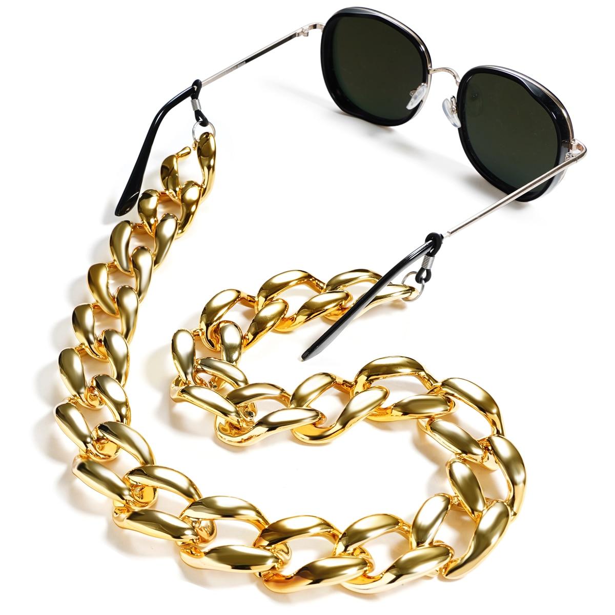 Acrílico óculos corrente colhedores mate cor ouro óculos de leitura pendurado pescoço correntes óculos de sol cinta correntes
