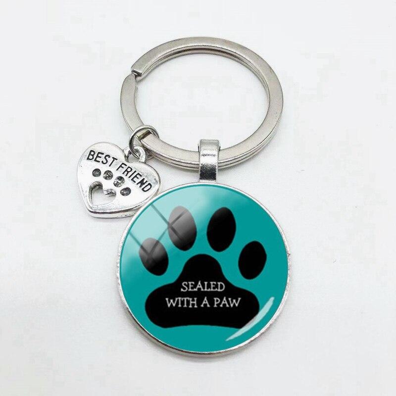Novo gatinho bonito e filhote de cachorro pegadas padrão chaveiro em forma de coração melhor amigo pingente chaveiro entre amigos