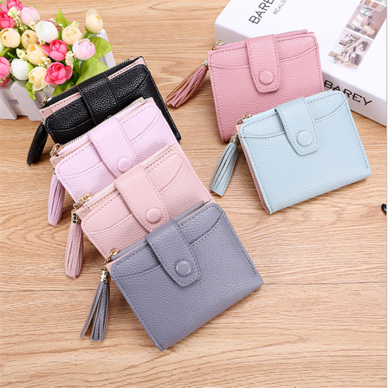 Short Tassel Women's Wallets Lady Mini Card Holder Wallet Female Credit Card Coin Purse Hot Sale Fashion Brand 2 Fold New PU