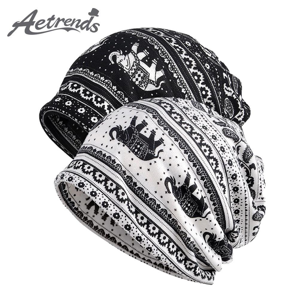 [AETRENDS] Men Women Baggy Slouchy Beanie Hat Cap Scarf Beanies Chemo Caps Cancer Sleep Hats Z-9987