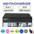 Дистанционное управление аудио распознавание лица Hi3531D 8MP 4K Xmeye 8CH 8-канальный H.265 + Гибридный коаксиальный WIFI 6 в 1 TVI CVI NVR AHD DVR