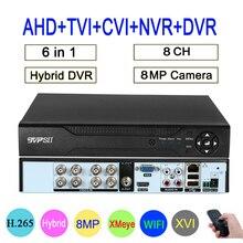 שלט רחוק אודיו פנים זיהוי Hi3531D 8MP 4K Xmeye 8CH 8 ערוץ H.265 + היברידי קואקסיאלי WIFI 6 ב 1 TVI CVI NVR AHD DVR