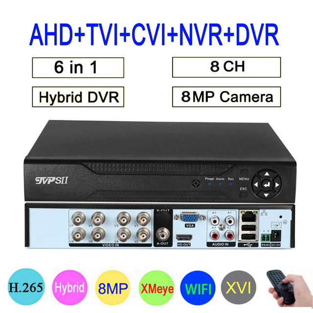 Uzaktan kumanda ses yüz algılama Hi3531D 8MP 4K Xmeye 8CH 8 kanal H.265 + hibrid koaksiyel WIFI 6 1 TVI CVI NVR AHD DVR