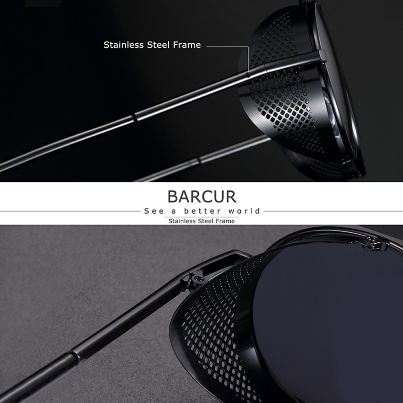 BARCUR Polarized Steampunk Round Sunglasses Men Retro Women Vintage Style