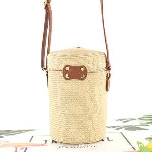 Image 3 - バケツ形の pp 草カジュアル織女性のバッグレトロメッセンジャーわらビーチバッグ