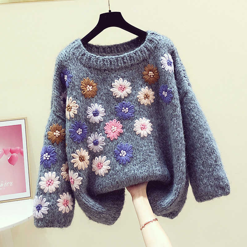 스웨터 여성 2020 봄 겨울 복고풍 수제 입체 꽃 게으른 바람 스웨터 느슨한 맞는 스웨터 숙녀 점퍼
