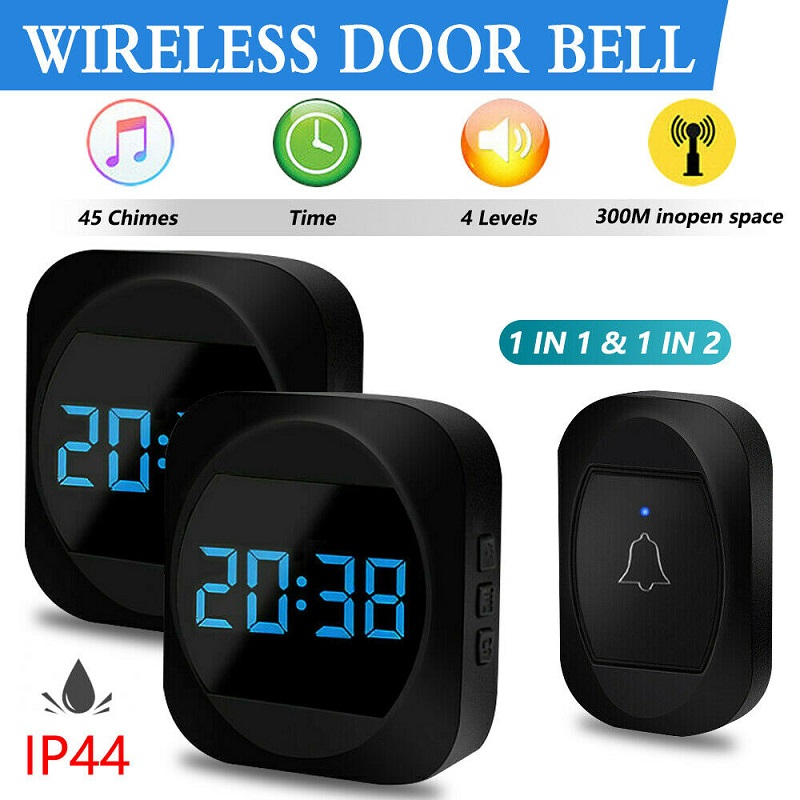 Wireless Waterproof Doorbell IP44 Welcome Bell Home Chime Door Bell Smart Doorbell EU Plug Doorbell Ring Waterproof Button Bell