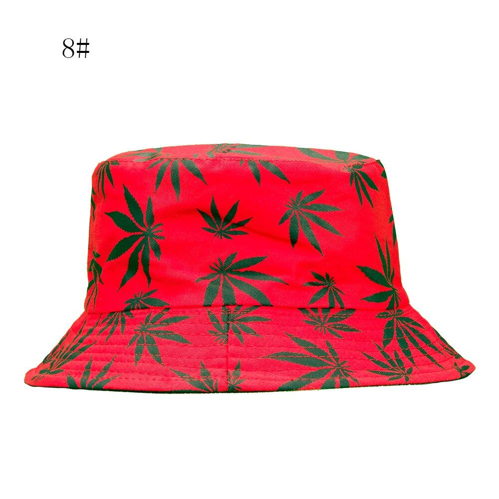 ASP Summer Spring Women Men Cotton Hat Cap Maple Leaf Bucket Hat Sun Flat Top Fisherman Hats,style16
