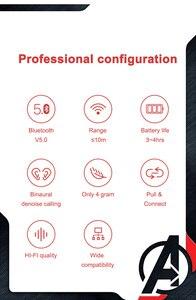 Image 4 - Marvel sertifikalı kaptan amerika TWS kablosuz Stereo kulaklık Bluetooth V5.0 kulaklık desteği bağlamak için iki cep telefonu