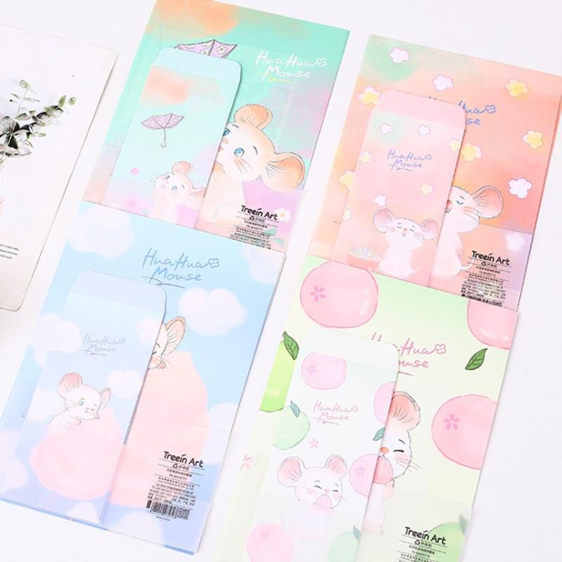 3 конверта + 6 бумажных букв Kawaii Chipmunk, креативные канцелярские принадлежности, офисные и школьные принадлежности, рекламный Свадебный конвер...