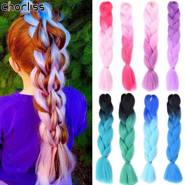 Chorliss 24 Inch Long Ombre Synthetic Braiding Kanekalon Hair  Crochet Extensions Hair Box Braid Synthetic Braids Hair For Women