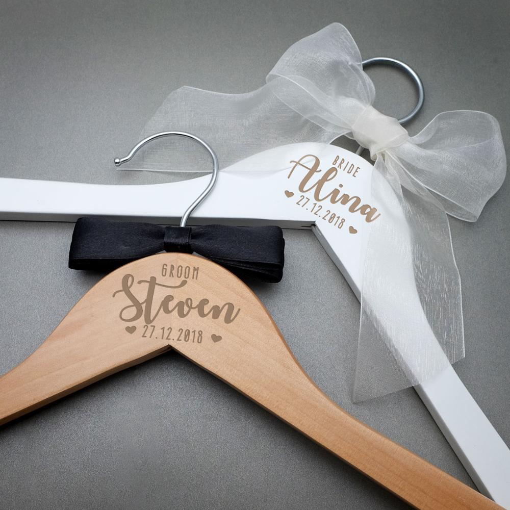 Персонализированные Свадебные Вешалка для новобрачных подарок для новорожденных малышей, Выгравируйте имя деревянные вешалки для подруже...