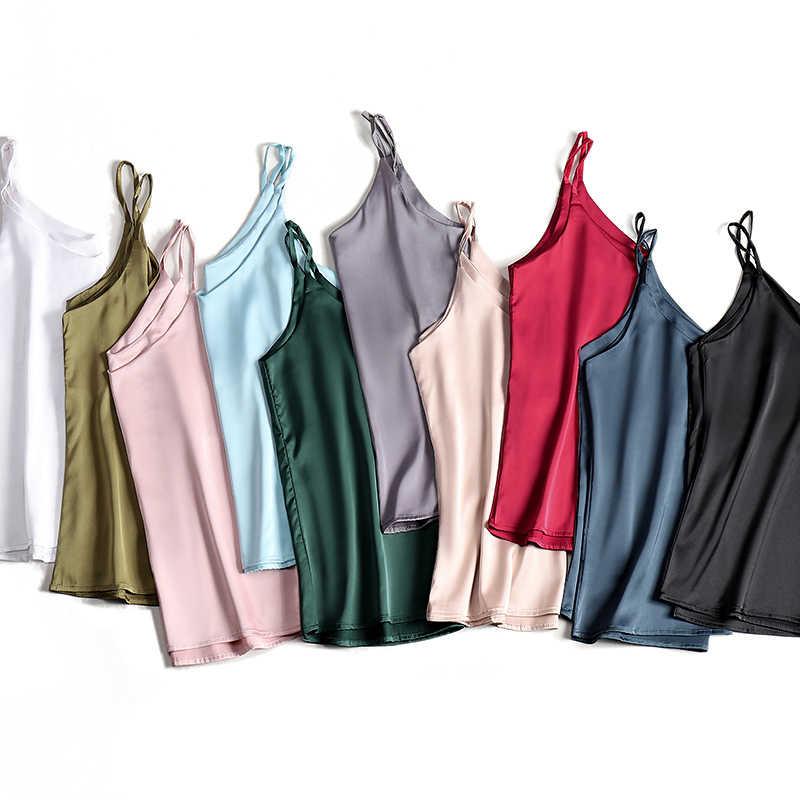 สปาเก็ตตี้ผู้หญิง Halter V คอ Basic สีขาว Cami แขนกุดผ้าไหมซาติน TANK Tops ผู้หญิงฤดูร้อน 2020 Camisole PLUS ขนาด