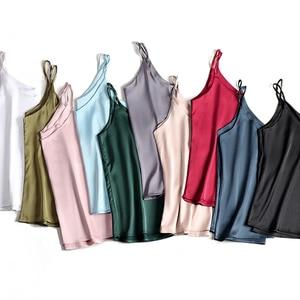 Image 2 - Spaghetti Strap Top Women Halter V Neck Basic White Cami Sleeveless Satin Silk Tank Tops WomenS Summer 2020 Camisole Plus Size