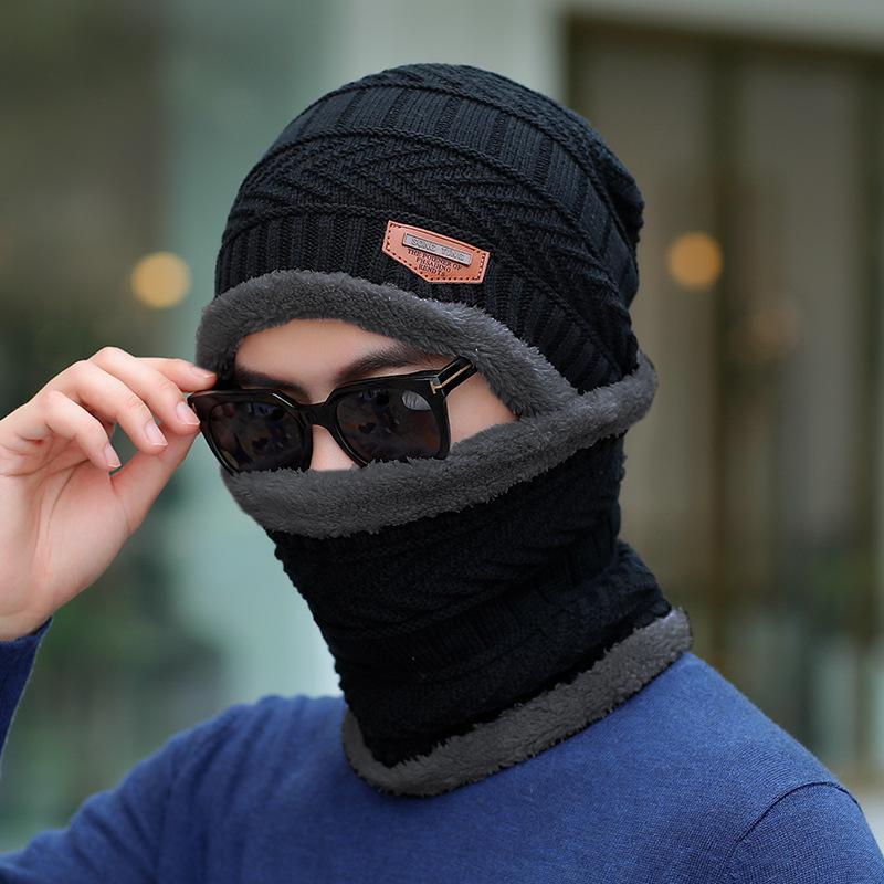 COKK зимние шапки с бархатным воротником для мужчин бини вязаная шапка с шарфом вельветовый утепленный комплект ветрозащитная уличная Зимняя распродажа - Цвет: Black Dark gray