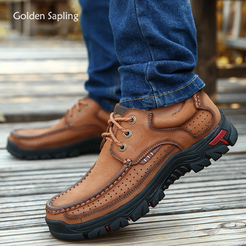 Golden Sapling Retro Style Men's Outdoor Shoes Breathable Genuine Leather Soft Rubber Tactical Boots for Hiking Top Sneakers Men
