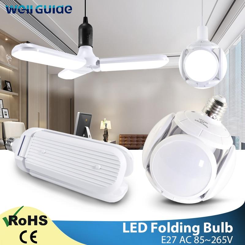 LED Bulb E27 60W 40W 30W LED Light Football AC110V 220V 240V LED Folding Leaf Lamp Bombilla Lampada UFO Lamp LED Bulb For Home