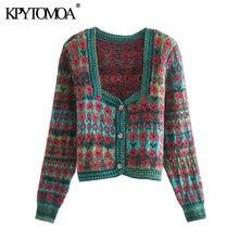 KPYTOMOA – Cardigan tricoté en Jacquard pour femmes, pull Vintage, col carré, boutonné, haut Chic, à la mode, 2020