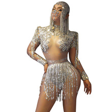 Costumes Bodysuit Fringes-Outfit Dancer Rhinestones-Chains Crystals Shining Sexy Nightclub
