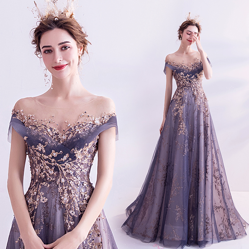 Short Sleeves Prom Dress 2020 Long Illusion Neck Appliques Sheer Sequins Purple Party Dresses Gliter Women Arabic Evening Dress