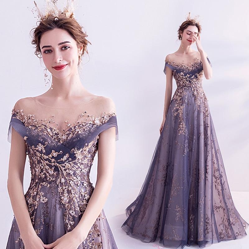 Short Sleeves Prom Dress 2020 Long Illusion Neck Appliques Sheer Sequins Purple Party Dresses Gliter Women Arabic Evening Dress