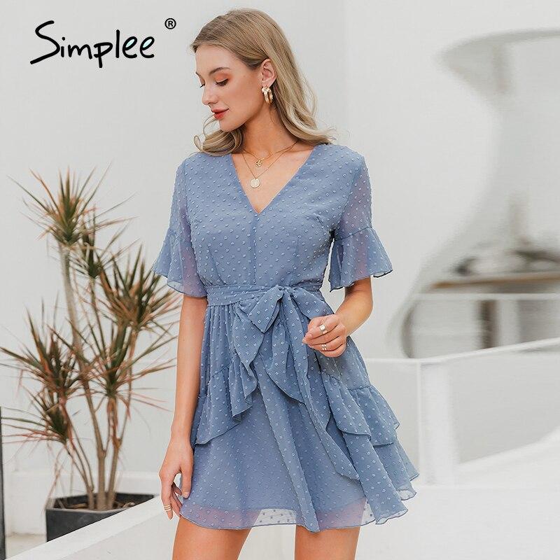 Женское шифоновое платье с v-образным вырезом, женское элегантное платье в крапинку с рюшами, привлекательный короткий сарафан для лета и от...