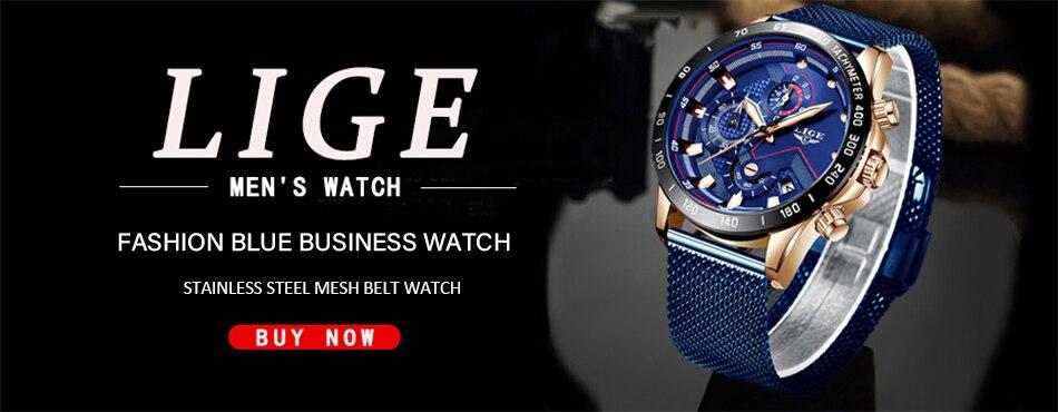 H61e3af1adea547738f2a09d8b1ecf2d9A LIGE Fashion Mens Watches Brand Luxury WristWatch Quartz Clock Blue Watch Men Waterproof Sport Chronograph Relogio Masculino