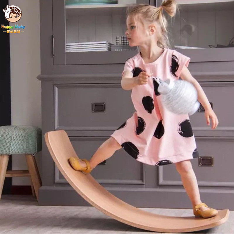 Happymaty Child Balance Toy Wooden Seesaw Indoor Curved Board Baby Double Wooden Outdoor Seesaw Yoga Board Outdoor Toys For Kids