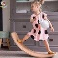 Happymaty niño juguete de equilibrio de madera balancín interior curva de bebé de madera doble balancín para exteriores tablero de yoga al aire libre juguetes para los niños
