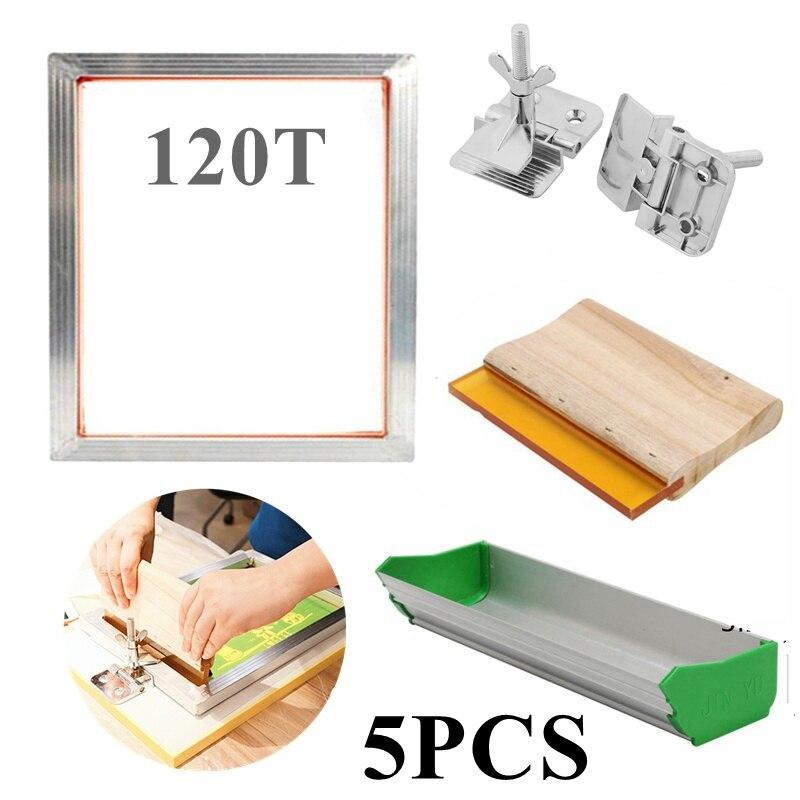 5 pièces/ensemble Kit de sérigraphie 300M cadre en aluminium sérigraphié + pince à charnière + pince d'émulsion Scoop Coater + pièces d'outil de raclette