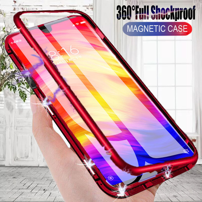 360° Adsorption Magnetic Flip Case For Xiaomi Redmi Note 7 5 6 K20 Pro Metal Phone Cases For Redmi 7A 6A K20 Glass Back Cover