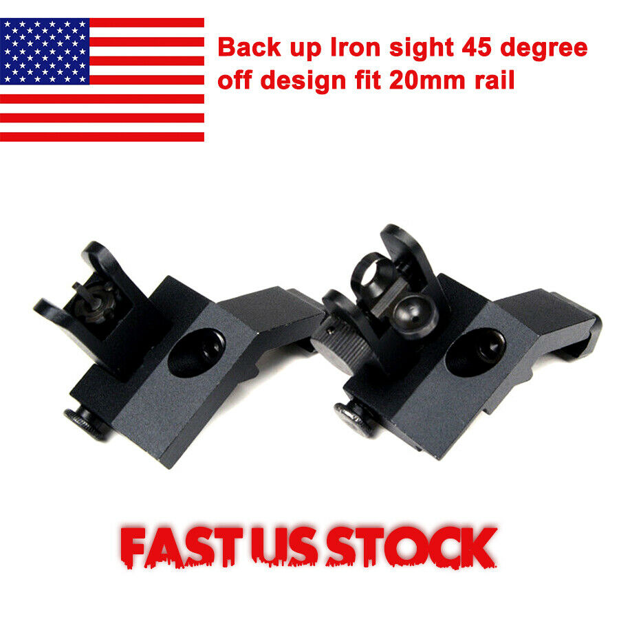 US Front And Rear Flip Up 45 Degree Offset Rapid Backup Iron Sight Transition Gun Accessories For Tactical Hunting