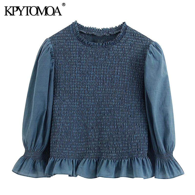 KPYTOMOA Women 2020 Fashion Smocked Elastic Ruffled Cropped Blouses Vintage O Neck Half Sleeve Female Shirts Blusas Chic Tops