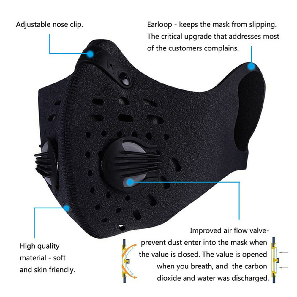 5/10 Pcs Activated Carbon Breathable Bicycle Mask PM2.5 Dust Windproof Protective Bike MTB Cycling Face Mask Non-Hanging Ear