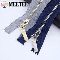 Meetee 5/10pcs 3# 20/25/30cm Metal Zipper Close-End Auto Lock Zip for Cloth Jeans DIY Pocket Zippers Bag Purse Repair Accessory