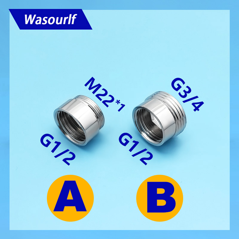 WASOURLF G1/2 Female Thread 3/4 M22 Male Thread Adapter Brass Chrome Connector Shower Bathroom Kitchen Pipe Hose Accessories