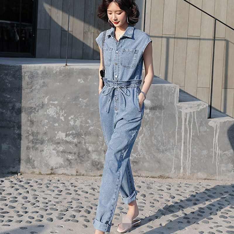 Główna ulica bez rękawów klapy pojedyncze piersi kobiet Denim kombinezony koreański wysokiej Wasit proste spodnie moda Casual Overcalls
