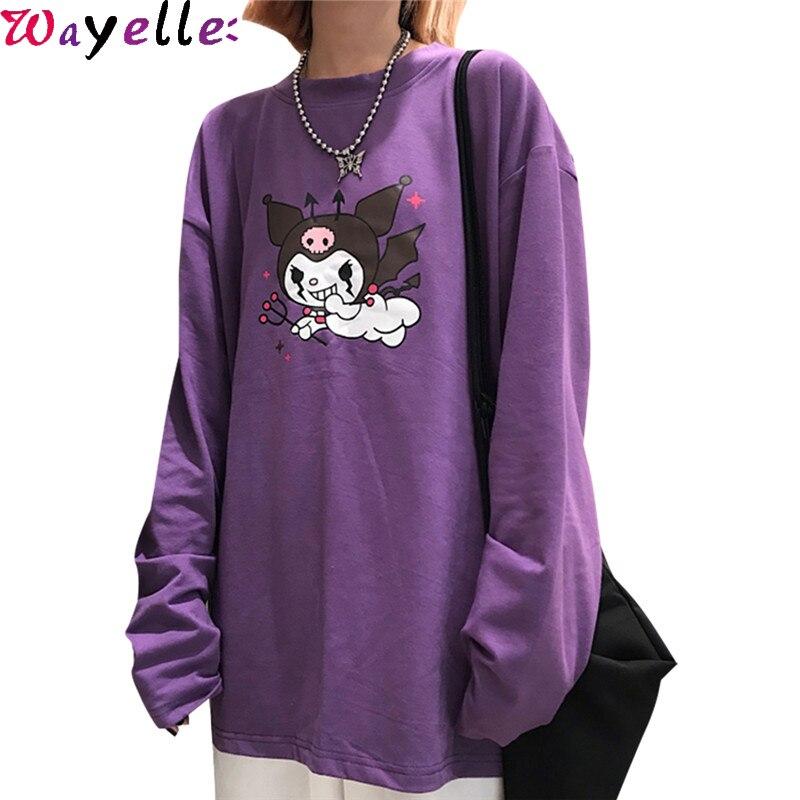 Harajuku Long Sleeve T-shirt Tops Women Streetwear Devil Print Purple T-shirt Korean O-Neck Causal Loose Autumn Women Tees Tops